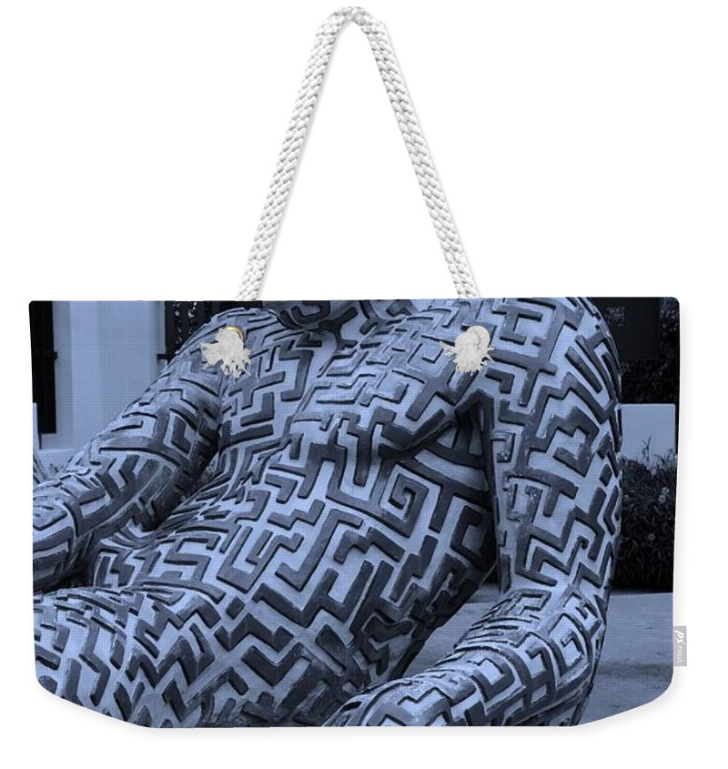 Maze Weekender Tote Bag featuring the photograph A Maze Ing Man 5 Cyan by Rob Hans
