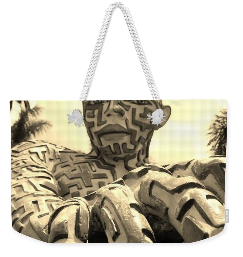 Maze Weekender Tote Bag featuring the photograph A Maze Ing Man 6 Sepia by Rob Hans