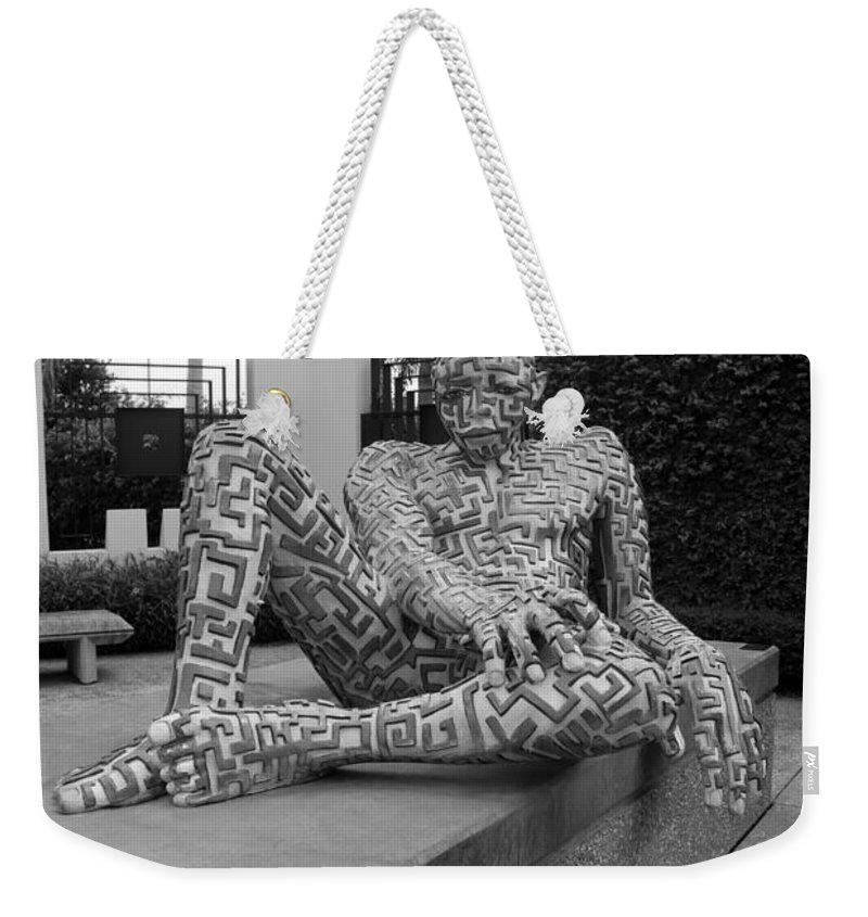 Maze Weekender Tote Bag featuring the photograph A Maze Ing Man Black And White by Rob Hans