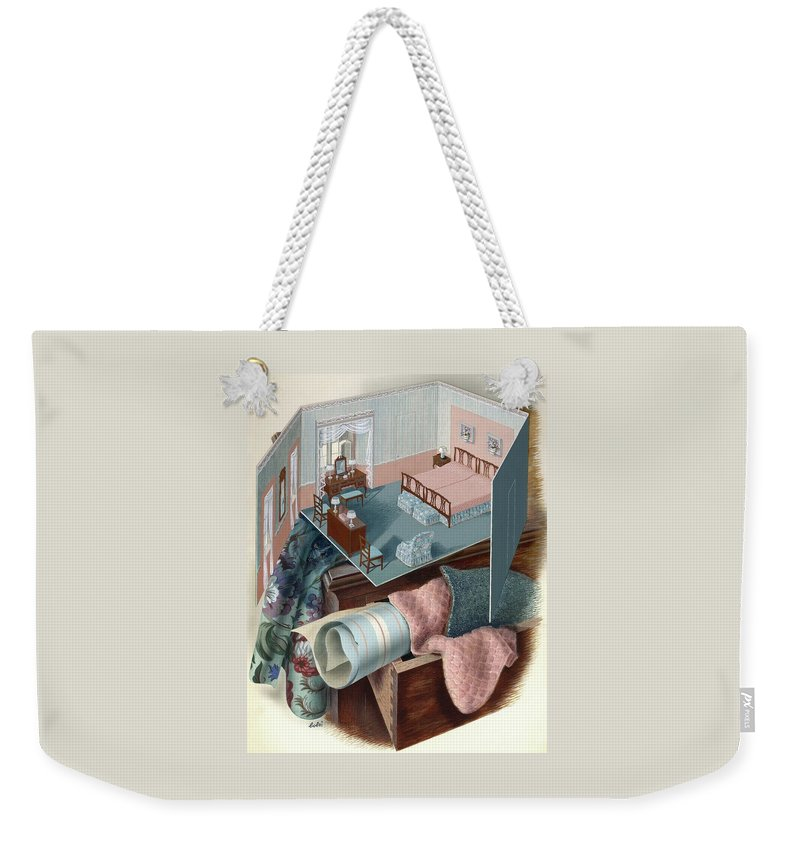 Visual Arts Weekender Tote Bag featuring the digital art A Model Of A Bedroom On Top Of A Set Of Drawers by Victor Bobritsky