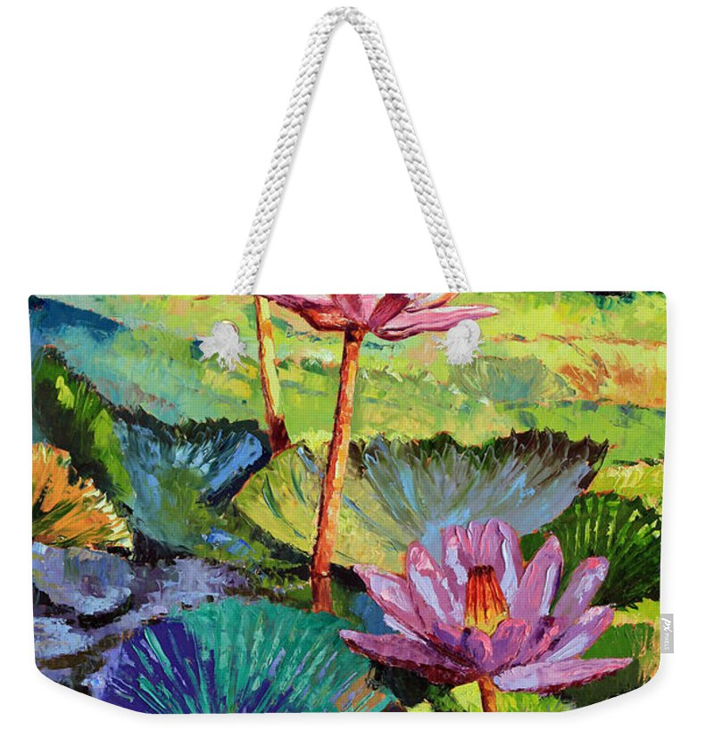 Water Lilies Weekender Tote Bag featuring the painting A Moment In Sunlight by John Lautermilch