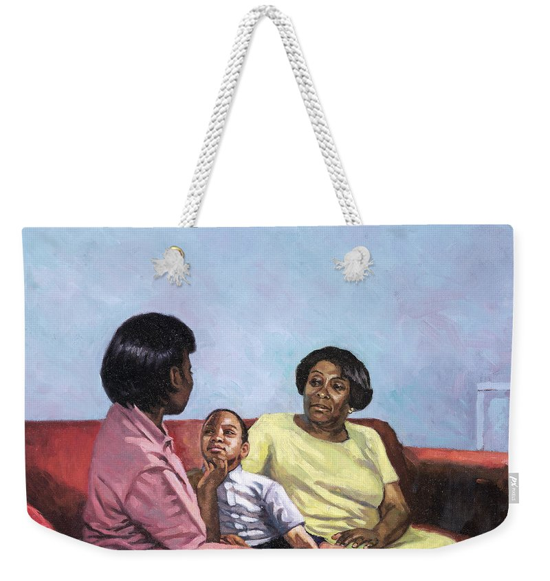 Motherhood Weekender Tote Bag featuring the painting A Mothers Strength by Colin Bootman