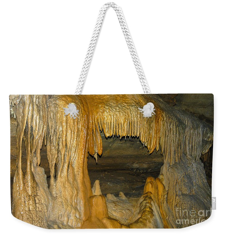 Crystal-onyx Cave Cave City Kentucky Rock Formation Formations Cavern Caverns Stalactite Stalagmite Stalactites Stalagmites Underground Weekender Tote Bag featuring the photograph A Natural Big Mouth by Bob Phillips