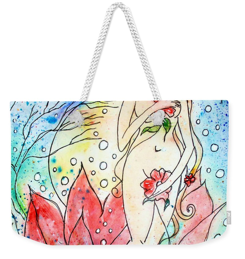 Female Figure Weekender Tote Bag featuring the painting A New Birth by Robin Monroe