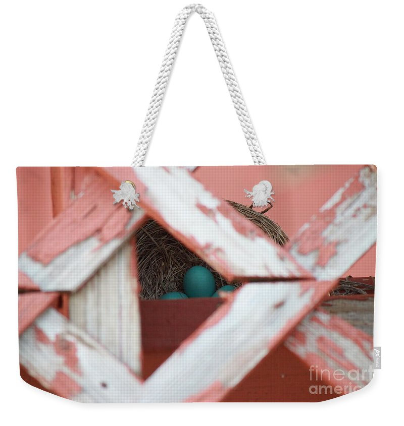 Blue Weekender Tote Bag featuring the photograph A New Life Is Beginning by Jennifer E Doll