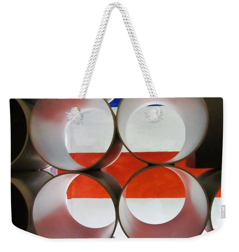 American Weekender Tote Bag featuring the photograph A New Perspective On The American Flag by Kathy Clark