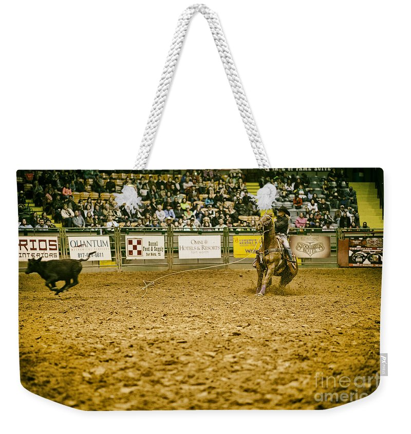 Night Weekender Tote Bag featuring the photograph A Night At The Rodeo V16 by Douglas Barnard