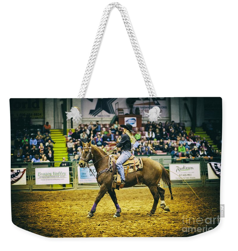 Night Weekender Tote Bag featuring the photograph A Night At The Rodeo V17 by Douglas Barnard