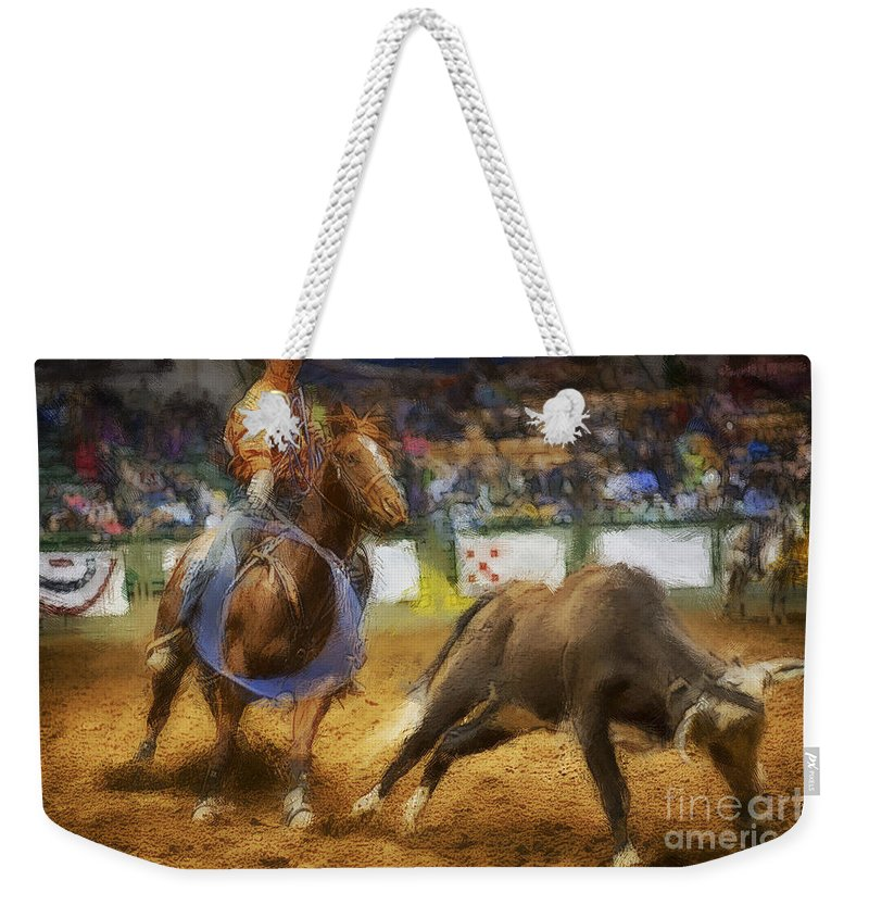 Night Weekender Tote Bag featuring the photograph A Night At The Rodeo V18 by Douglas Barnard
