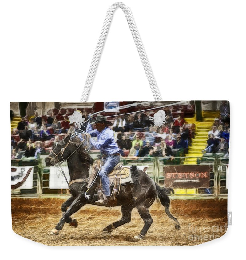 Night Weekender Tote Bag featuring the photograph A Night At The Rodeo V19 by Douglas Barnard