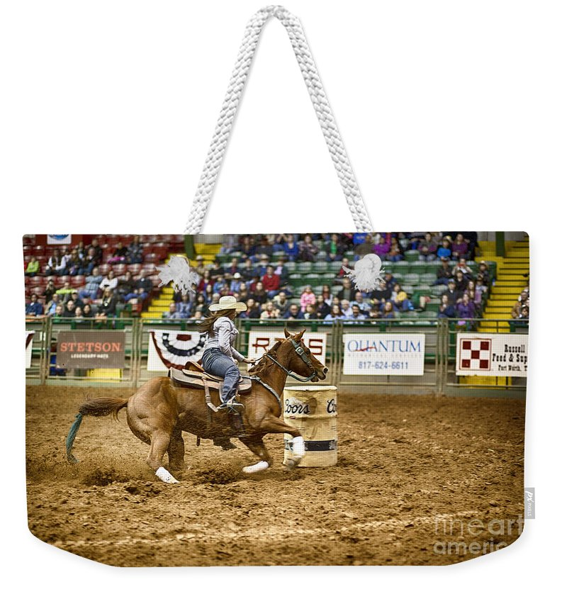 Night Weekender Tote Bag featuring the photograph A Night At The Rodeo V20 by Douglas Barnard
