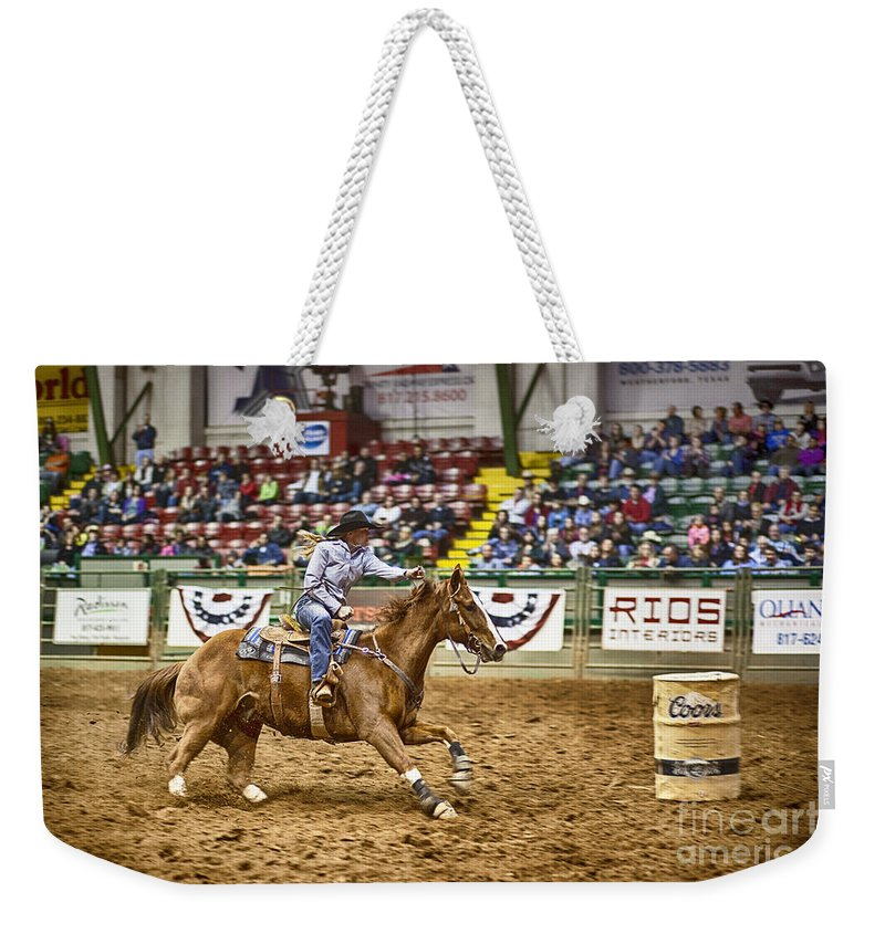 Night Weekender Tote Bag featuring the photograph A Night At The Rodeo V27 by Douglas Barnard