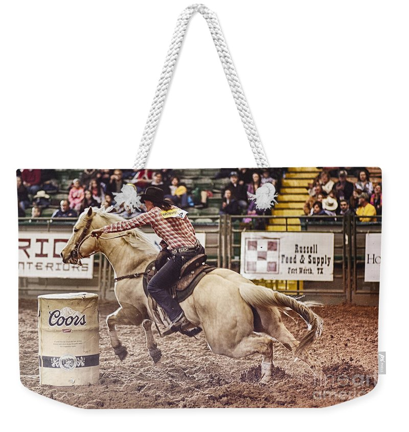 Night Weekender Tote Bag featuring the photograph A Night At The Rodeo V34 by Douglas Barnard