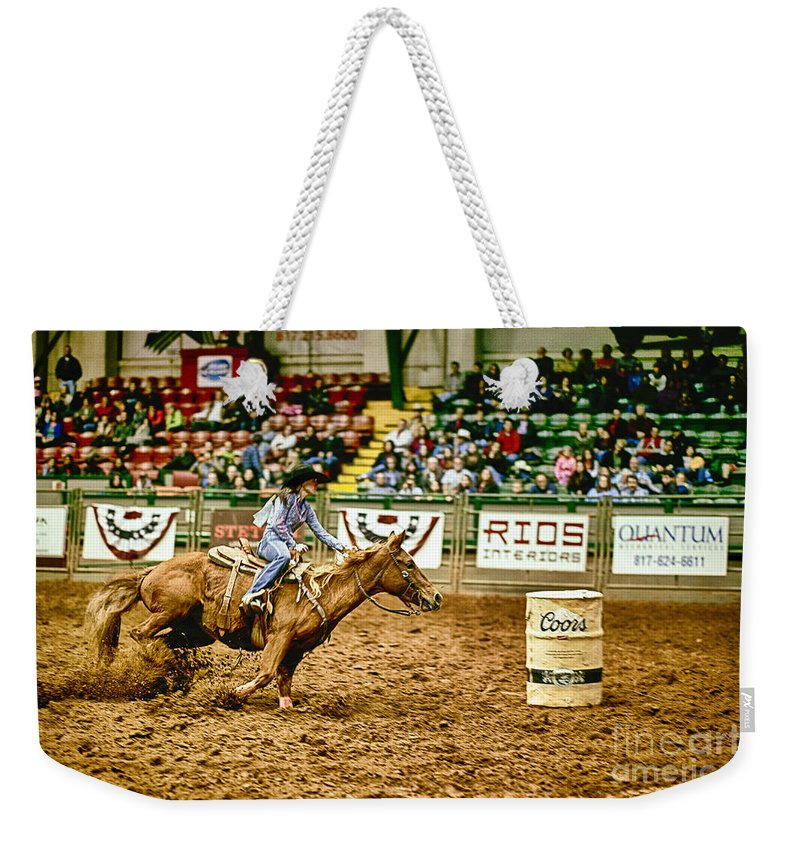 Night Weekender Tote Bag featuring the photograph A Night At The Rodeo V35 by Douglas Barnard
