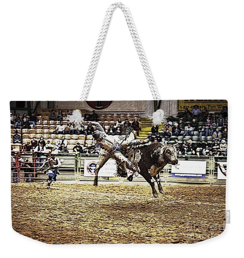 Night Weekender Tote Bag featuring the photograph A Night At The Rodeo V36 by Douglas Barnard