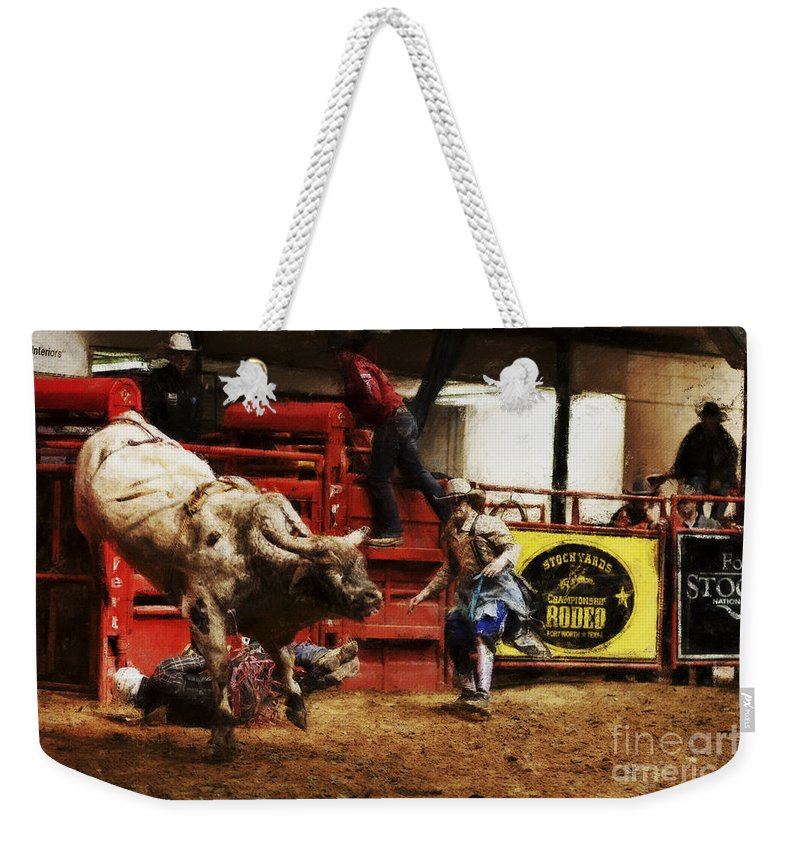 Night Weekender Tote Bag featuring the photograph A Night At The Rodeo V38 by Douglas Barnard