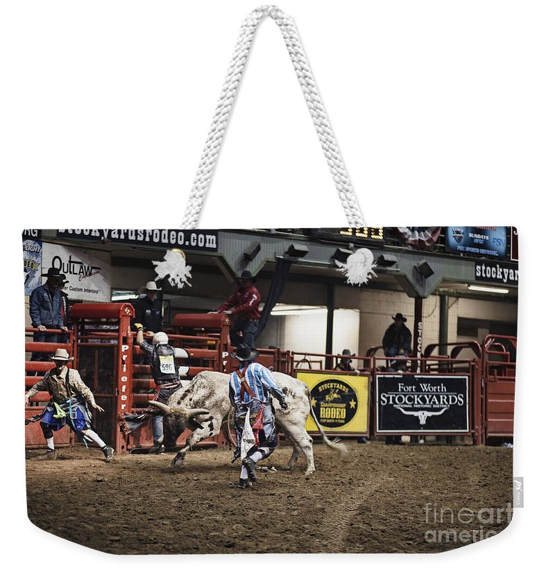 Night Weekender Tote Bag featuring the photograph A Night At The Rodeo V39 by Douglas Barnard