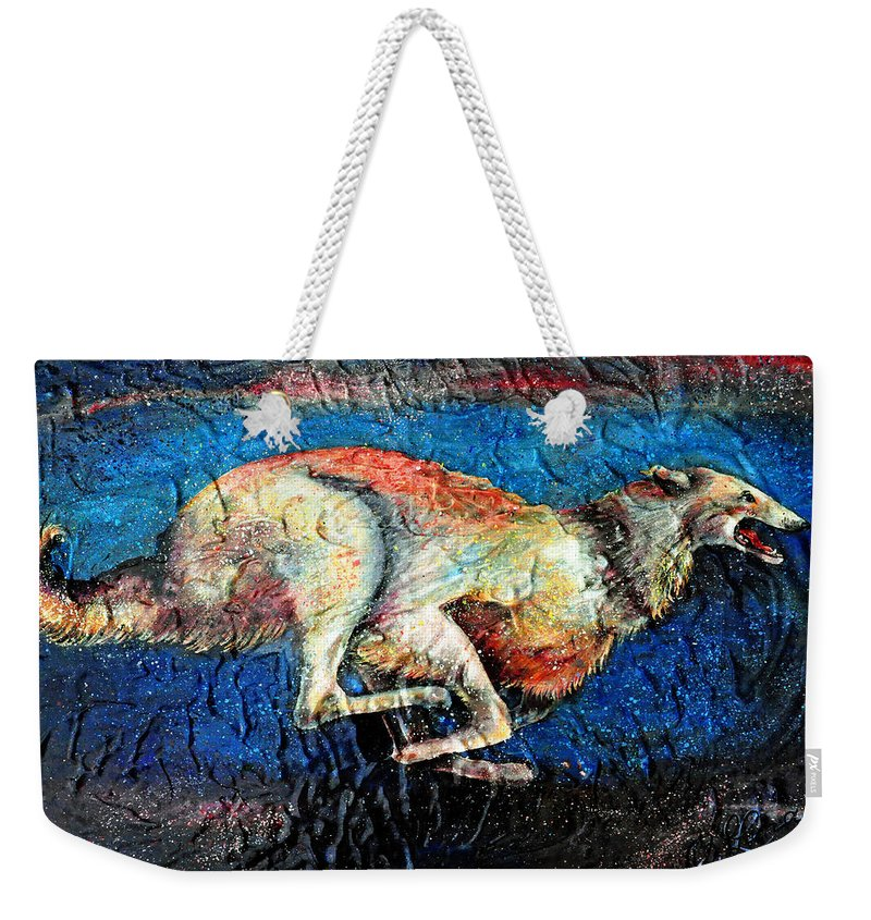Russian Hound Dog Weekender Tote Bag featuring the painting A Night Runner by OLena Art Brand