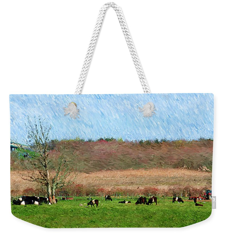 Cow Weekender Tote Bag featuring the photograph A Painting Cows Grazing And Newport Bridge by Mike Nellums