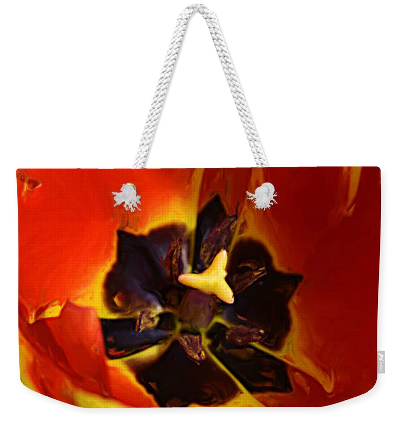 Painting Weekender Tote Bag featuring the photograph A Painting Red Tulip by Mike Nellums