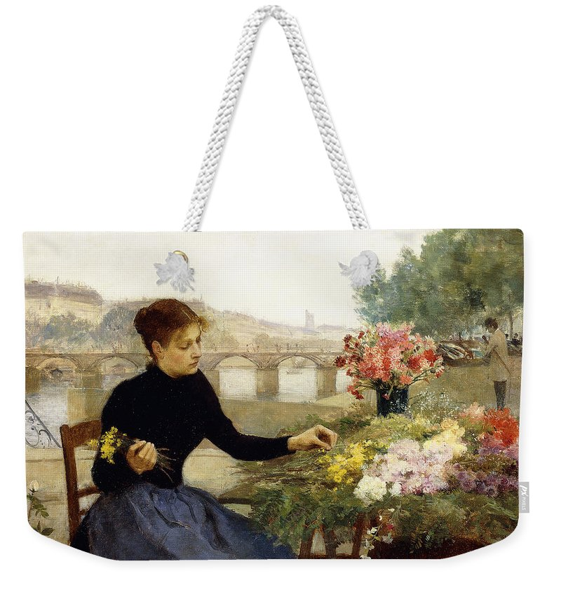 Victor Gabriel Gilbert Weekender Tote Bag featuring the painting A Parisian Flower Market by Victor Gabriel Gilbert