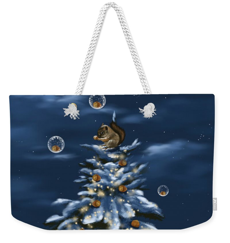 Christmas Weekender Tote Bag featuring the digital art A Perfect Present by Veronica Minozzi