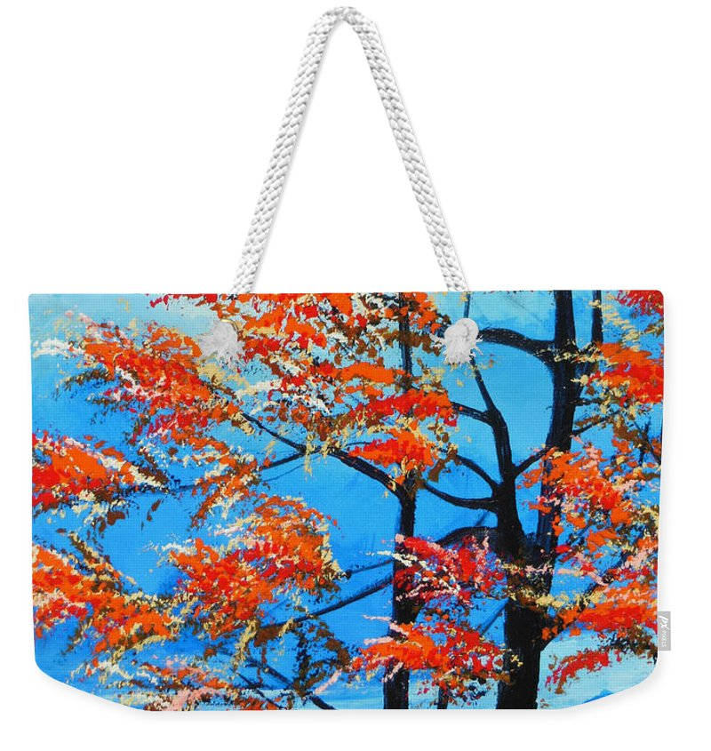 Forest Weekender Tote Bag featuring the painting A Place To Get Away by Dan Whittemore