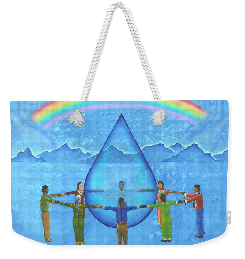 Native American Weekender Tote Bag featuring the painting A Prayer For Water by Kevin Chasing Wolf Hutchins