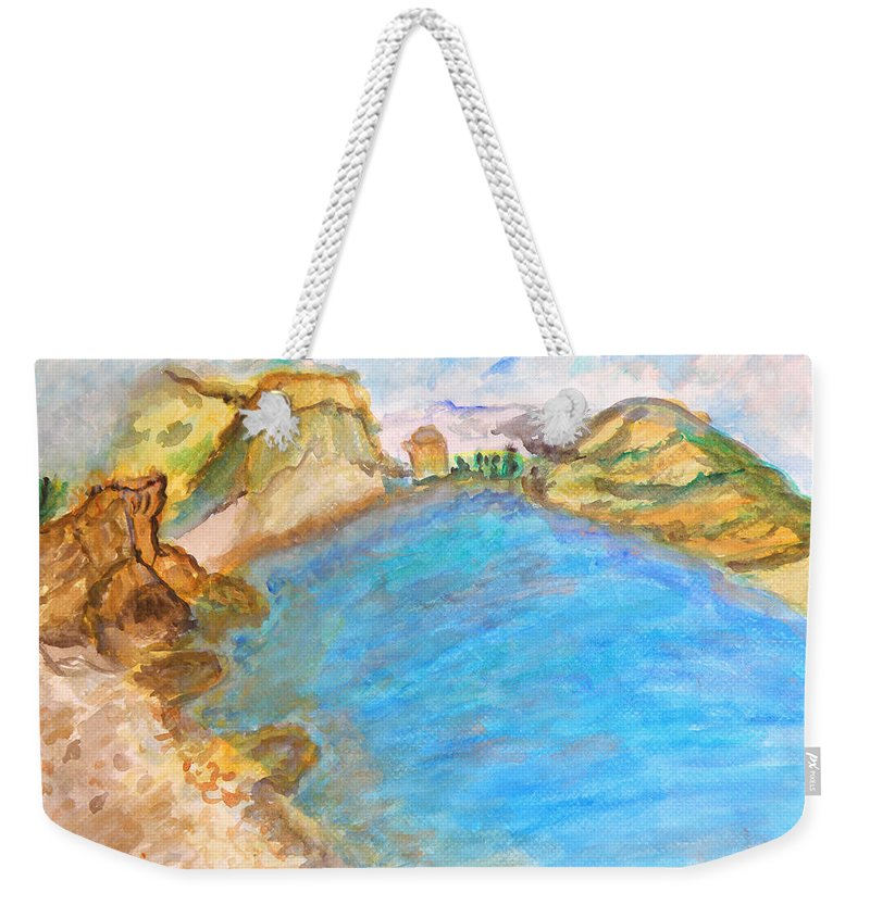 Quiet Beach Near Limassol Weekender Tote Bag featuring the painting A Quiet Beach by Augusta Stylianou