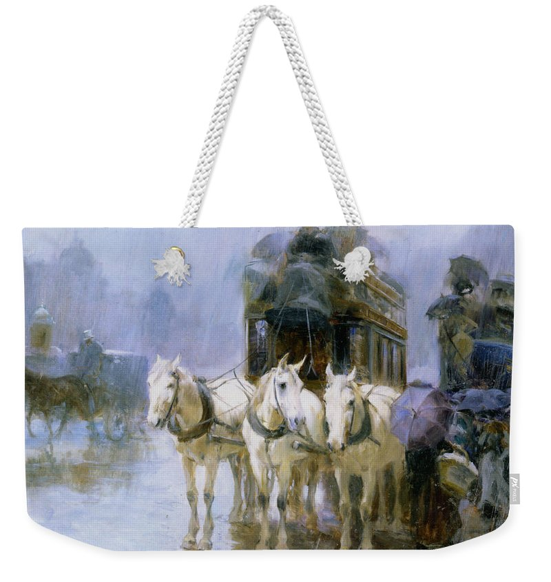 A Rainy Day In Paris Weekender Tote Bag featuring the digital art A Rainy Day In Paris by Ulpiano Checa y Sanz