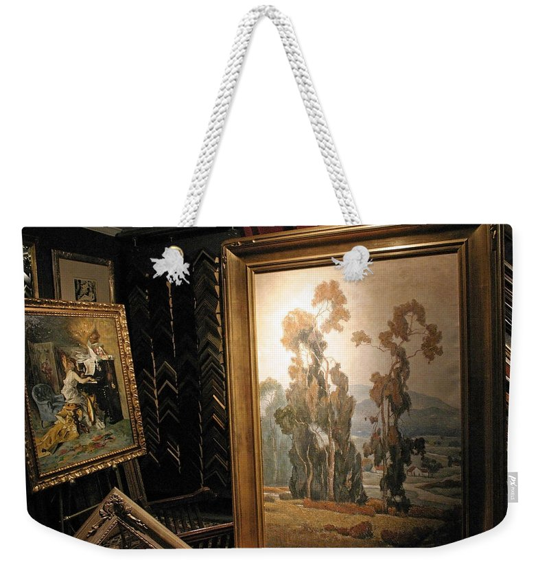 Frame Weekender Tote Bag featuring the photograph A Rodeo Frame Shop by Cora Wandel