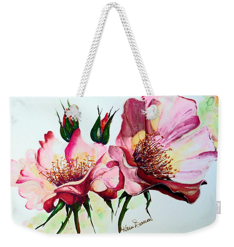 Flower Painting Weekender Tote Bag featuring the painting A Rose Is A Rose by Karin Dawn Kelshall- Best