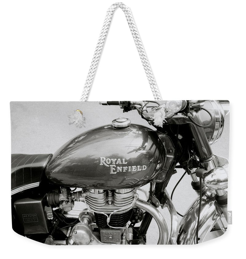 Motorbike Weekender Tote Bag featuring the photograph A Royal Enfield Motorbike by Shaun Higson