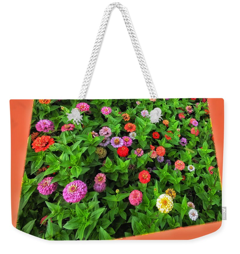 Floral Weekender Tote Bag featuring the photograph A Sea Of Zinnias 06 by Thomas Woolworth