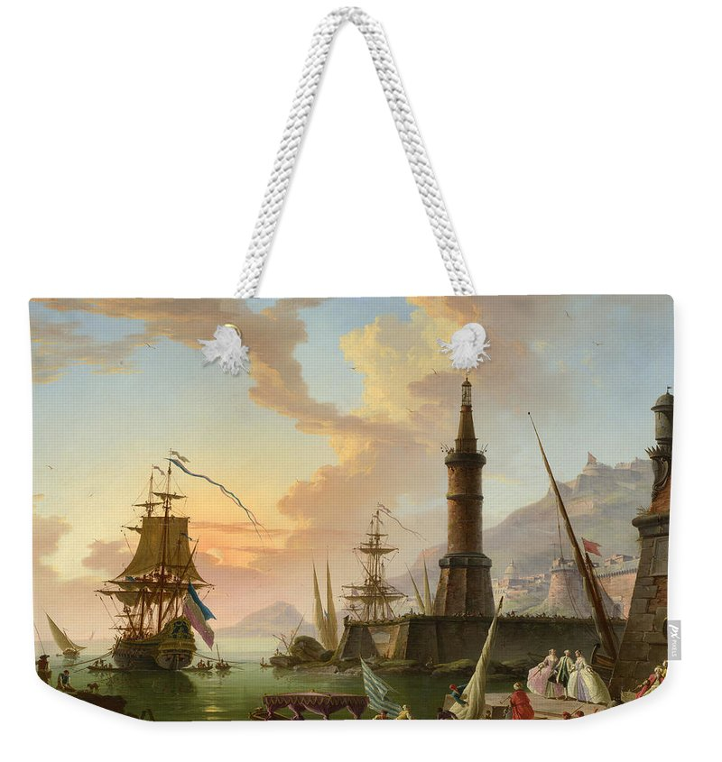 Claude-joseph Vernet Weekender Tote Bag featuring the painting A Seaport by Claude-Joseph Vernet