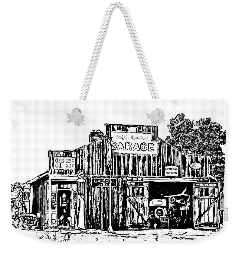 Digital Art Weekender Tote Bag featuring the photograph A Simpler Time Line Art by Steve Harrington