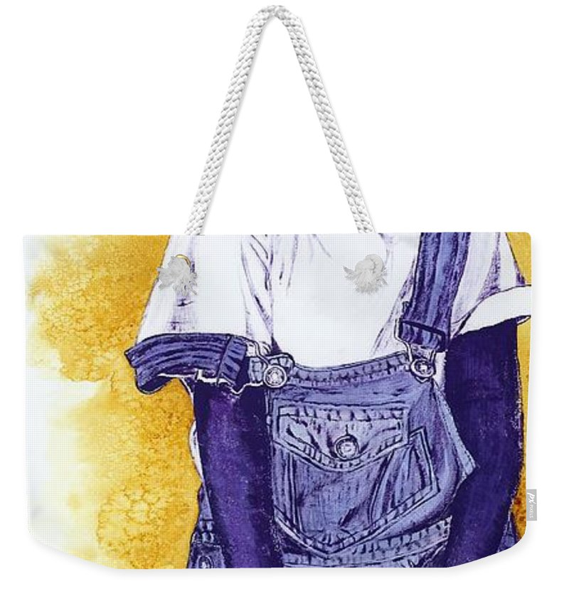 Orphan Weekender Tote Bag featuring the painting A Smile For You From Haiti by Margaret Bobb