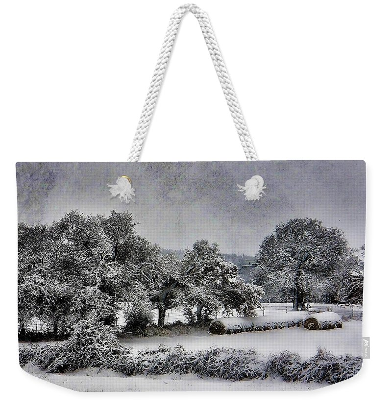 Sow Weekender Tote Bag featuring the photograph A Snowy Day by Shannon Story