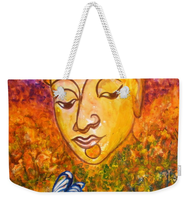 Abstract Print Art Painting Buddha Butterfly Purple Inspirational Traditional Yellow Red Orange Weekender Tote Bag featuring the photograph A Soulful Journey by Manjiri Kanvinde