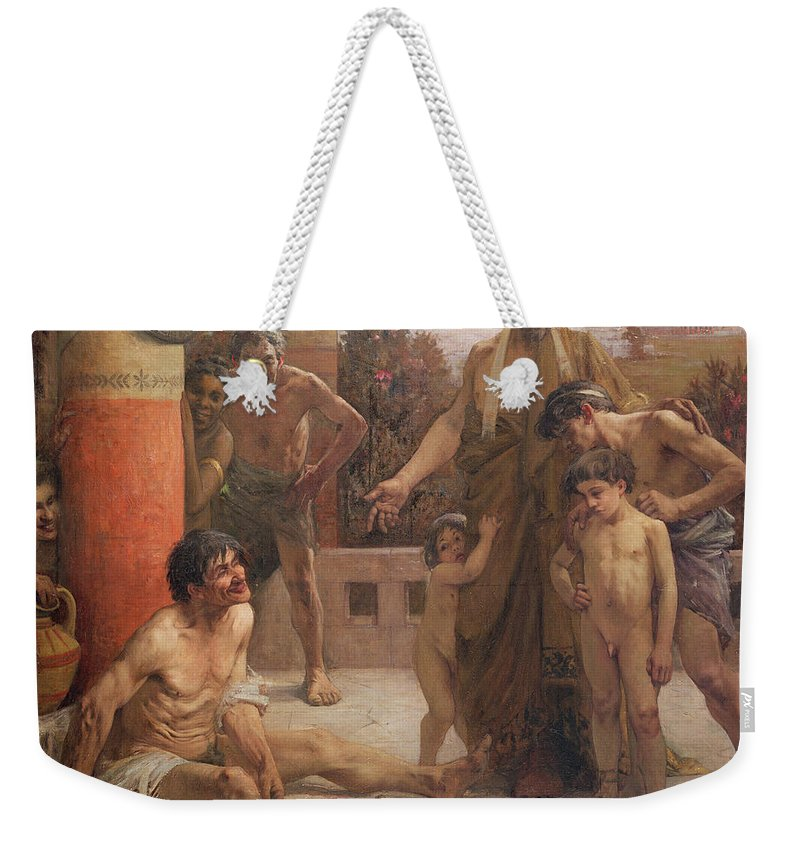 A Spartan Points Out A Drunken Slave To His Sons Weekender Tote Bag featuring the painting A Spartan Points Out A Drunken Slave To His Sons by Fernand Sabbate