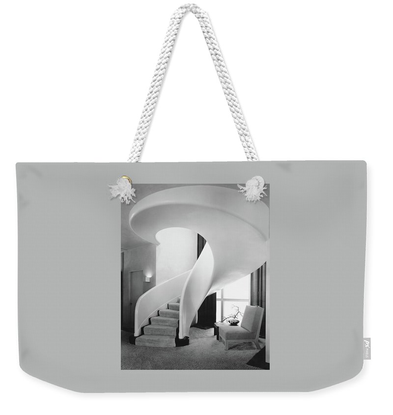 Interior Weekender Tote Bag featuring the photograph A Spiral Staircase by Hedrich-Blessing