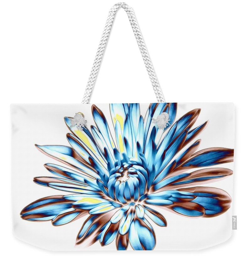 Blue Weekender Tote Bag featuring the photograph A Splash Of Petaled Blue by Bill Tiepelman