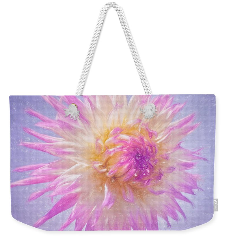 Pink Dahlia Weekender Tote Bag featuring the photograph A Star Is Born by Kim Hojnacki