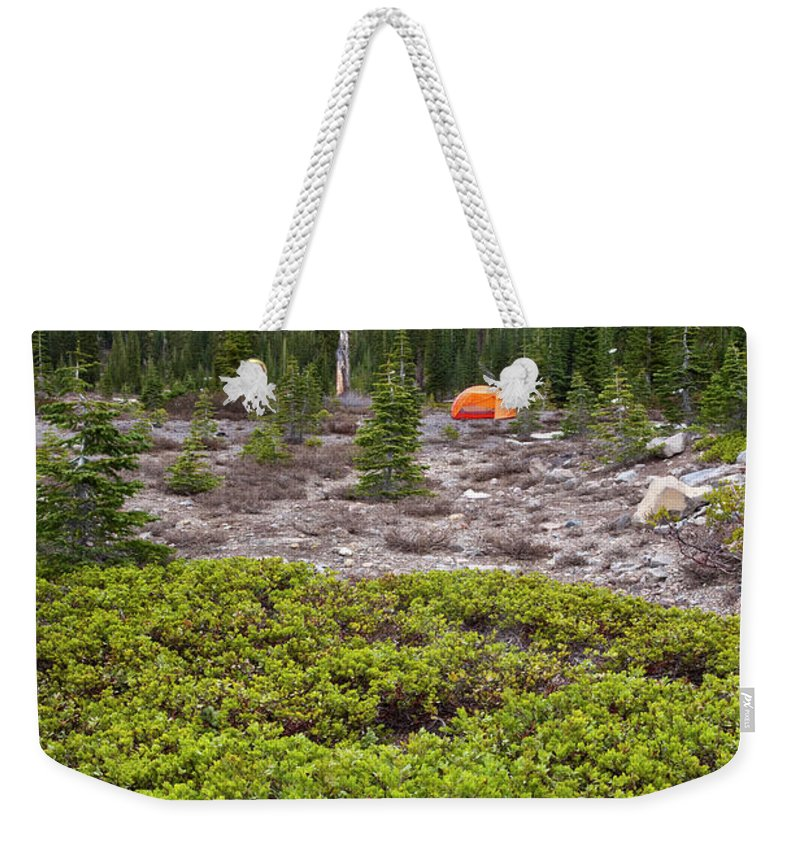 Adventure Weekender Tote Bag featuring the photograph A Summer Day Camping At The Foot Of Mt by Joshua Huber