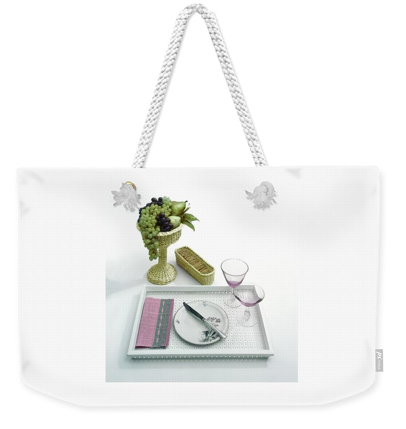 Home Weekender Tote Bag featuring the photograph A Summer Table Setting On A Tray by Haanel Cassidy
