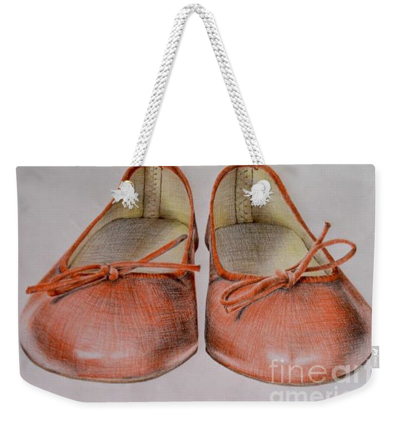 Shoes Weekender Tote Bag featuring the drawing A Sunday Walk by Katharina Filus