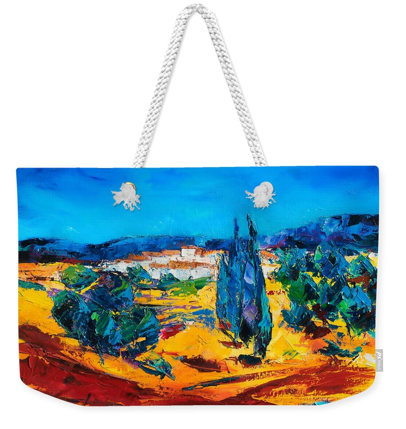 Landscape Weekender Tote Bag featuring the painting A Sunny Day In Provence by Elise Palmigiani