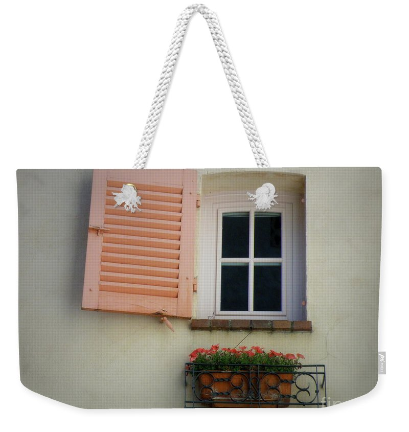Window Weekender Tote Bag featuring the photograph A Sweet Shuttered Window by Lainie Wrightson