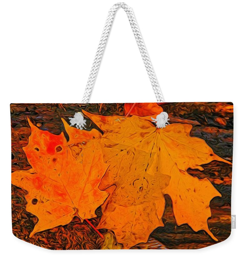A Touch Of Autumn Weekender Tote Bag featuring the digital art A Touch Of Autumn by Dan Sproul