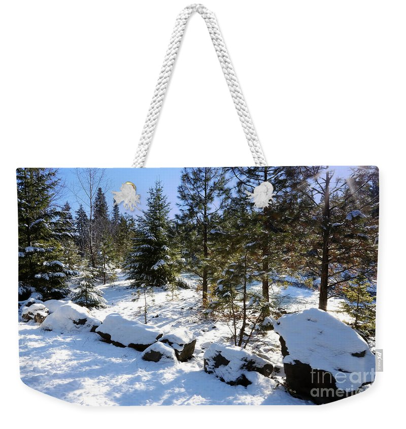 Snowy Landscape Weekender Tote Bag featuring the photograph A Touch Of Snow by Carol Groenen